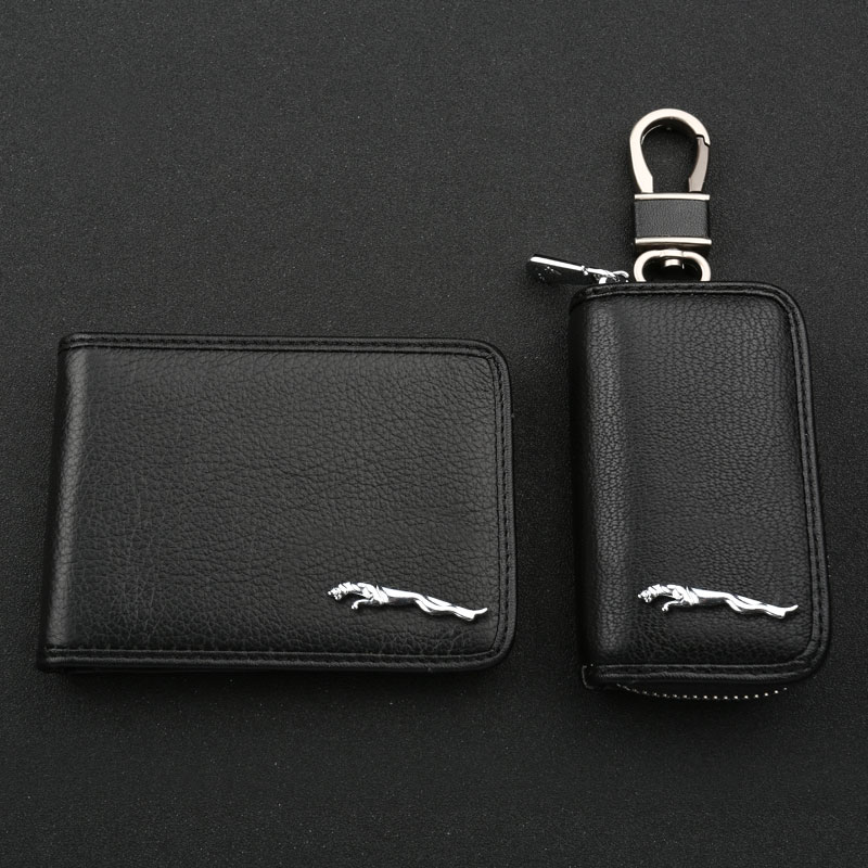 Leather car key cases sets jaguar xfl xj xf xe pace type driving driving documents folder