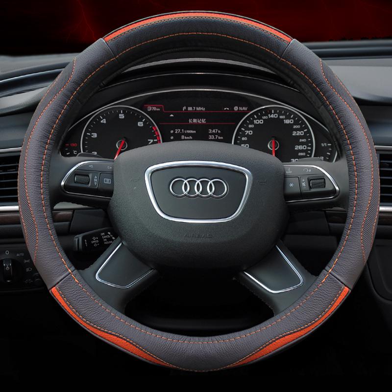 Leather steering wheel cover audi a4l/a6l/q3/q5/q7/a1/a3 special seasons Leather car grips