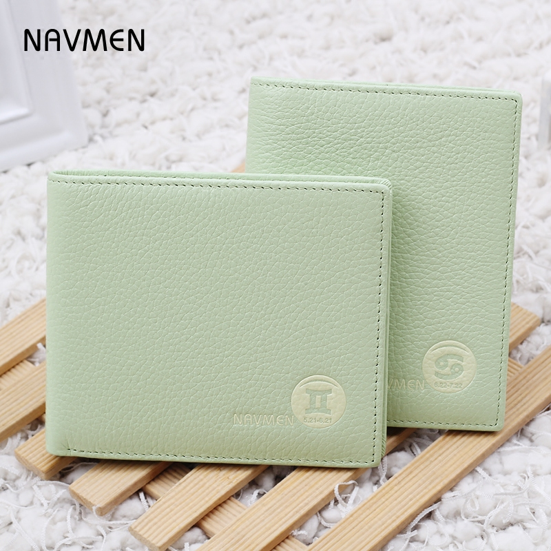 Leather wallet female short paragraph thin students ms. small purse small fresh minimalist wallet first layer of leather two fold korean