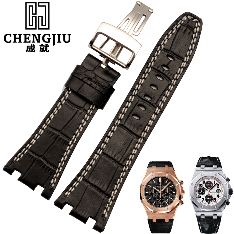 Leather watch band strap notch achievements ap audemars piguet watches leather strap watch men watch accessories 28mm