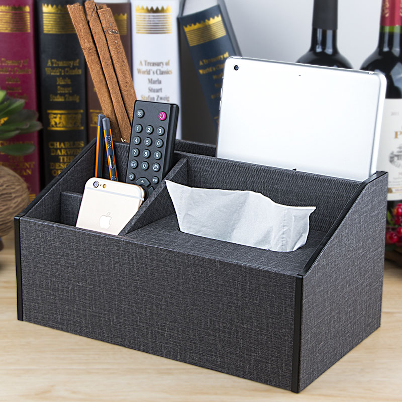Leather wooden desktop remote control storage box finishing box large european creative tissue box tissue box home living room bedroom