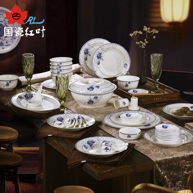 Leaves jingdezhen ceramic glaze bone china tableware 56 tableware suit bowl plate blue roses blue and white