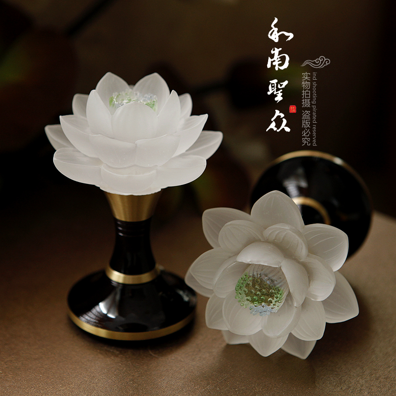 Led lotus lamp for light fodeng buddhist supplies buddhist qibao glass lamp glass lotus lantern (white)/ One pair