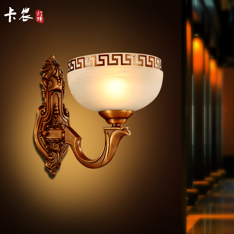 Led wall lamp bedside lamp chinese minimalist living room wall lamp bedroom lamp balcony aisle wall lights all copper imitation marble lamps