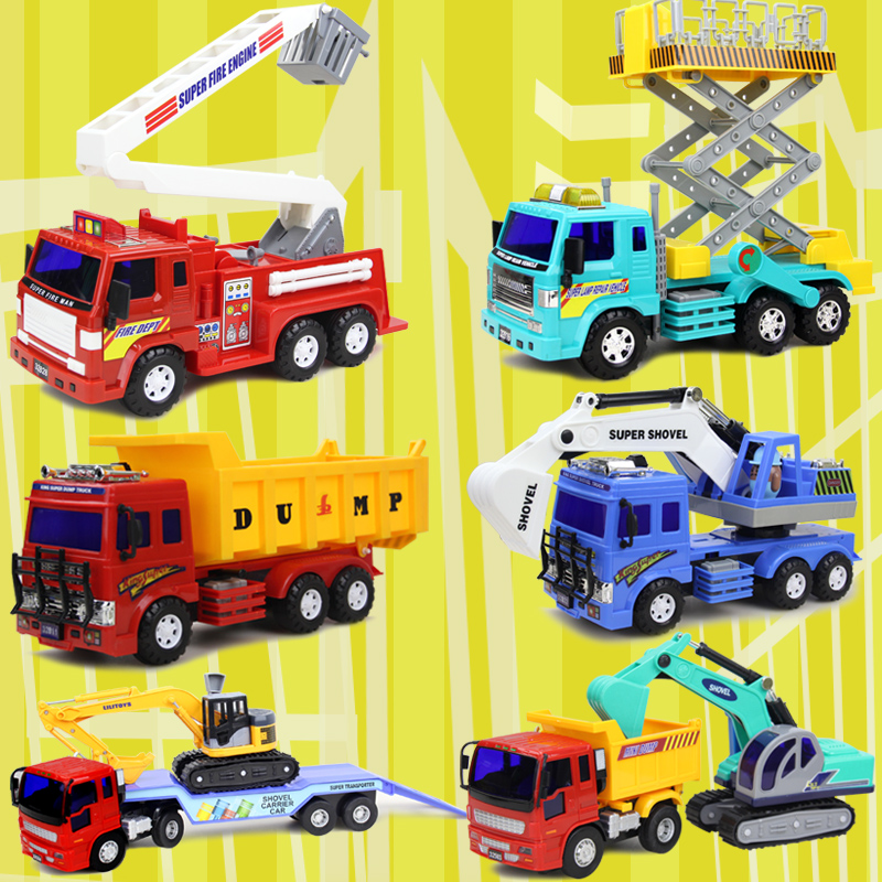 Lee inertia force truck cars dump truck mixer truck excavator loading car luxury car fire