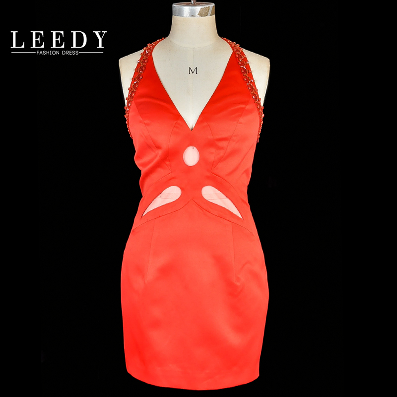 LEEDY2016 summer new female short paragraph banquet evening dress evening dress sexy halter dress slim