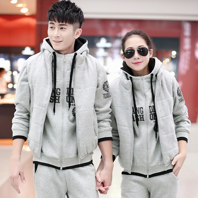 Letter dated 2015 from the three sets of men's women's autumn and winter new xl korean version of the leisure suit authentic sports suit