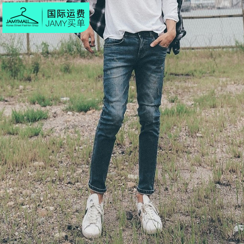 Letter dated 2016 from the south korea genuine new fall men's handspike of solid color casual jeans