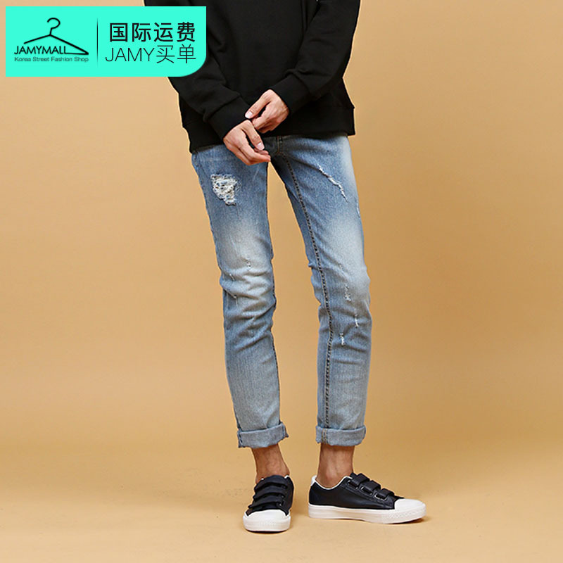 Letter dated 2016 from the south korea genuine new fall men's popular fashion charm retro hole jeans