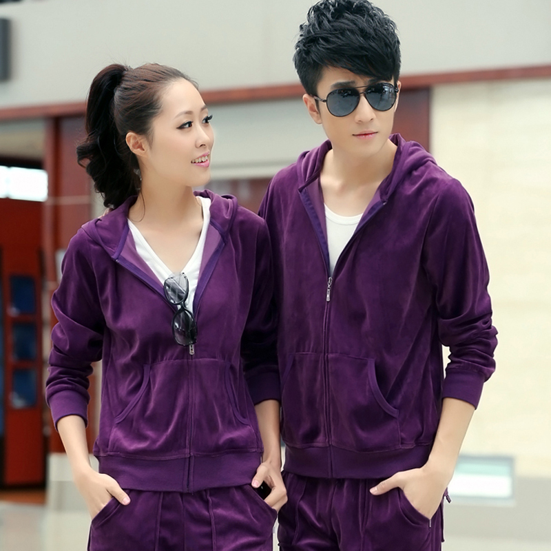 Letters cardin spring and autumn sportswear suit sports suit male and female models big yards lovers training hooded velvet leisure suit