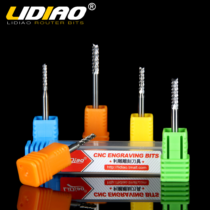 Lidiao imported tungsten steel lengthened 3.175 jade rice milling cutter engraving machine tool cutter pcb circuit board 0.3