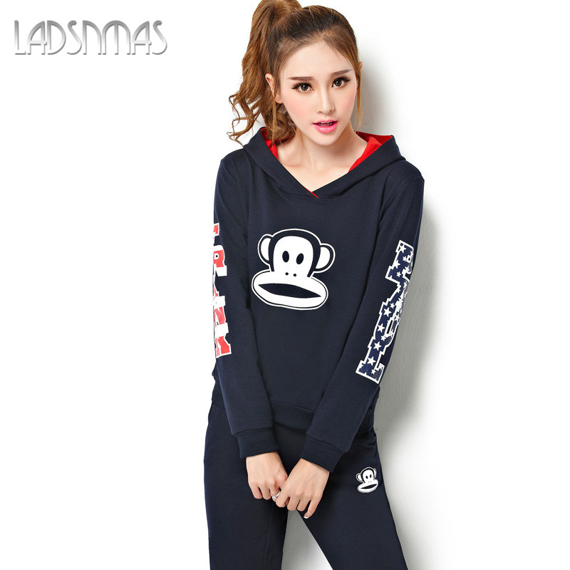 Light extravagant custom ladsnmas 2016 autumn and winter new big yards long sleeve sportswear leisure suit slim