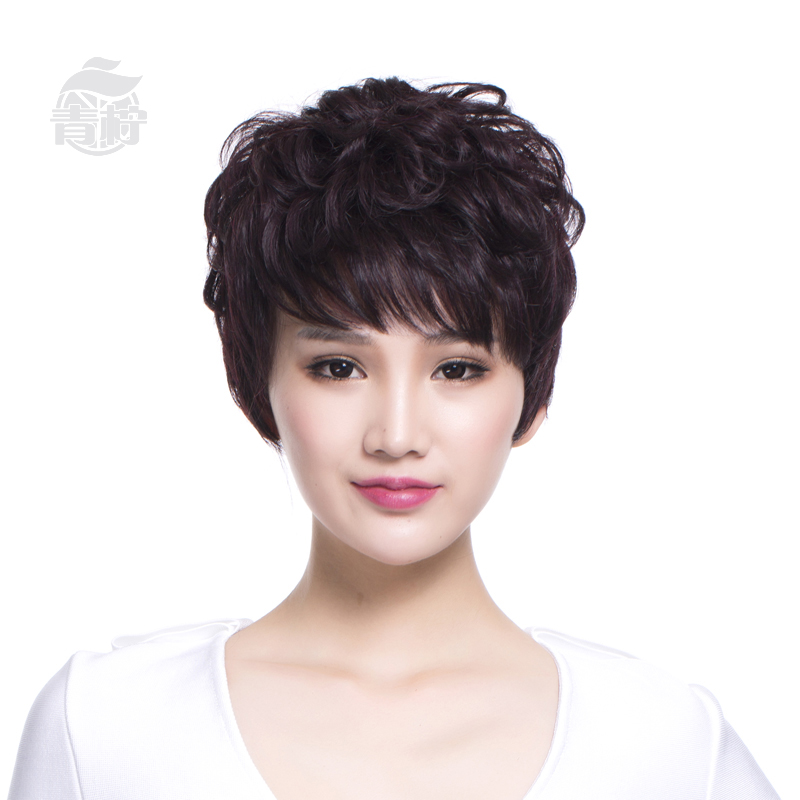 Lime hand woven around the mother wig hair wig short hair female short hair wig fashion lifelike entire top wig
