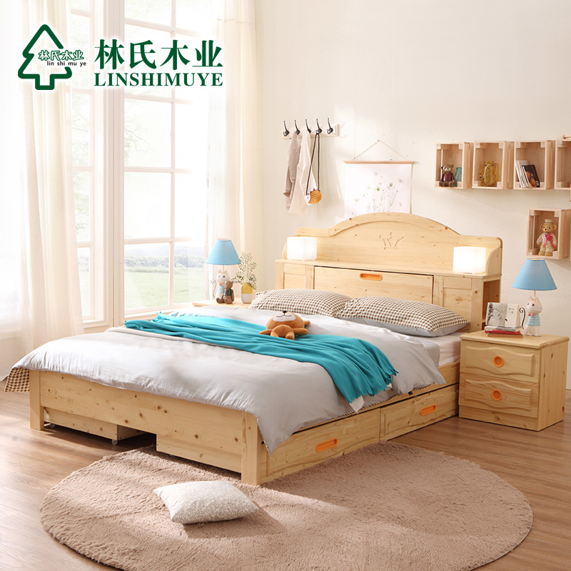 Lin wood minimalist bookcase bed 1.5 multifunction adolescents who all solid wood bed 1.8 m double pine bed CQ2A