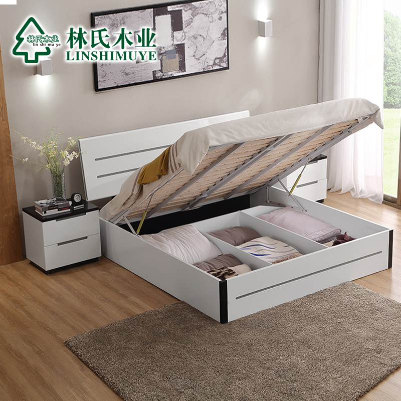 Lin wood modern minimalist bedroom double bed 1.8 m + bedside cabinet furniture mattress combination package BI1A #