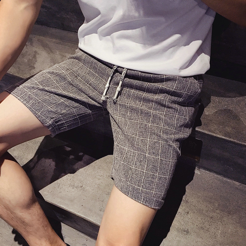 6487430a2a6 Get Quotations · Japanese retro summer linen shorts men s large size casual  plaid pants thin section straight barrel pants