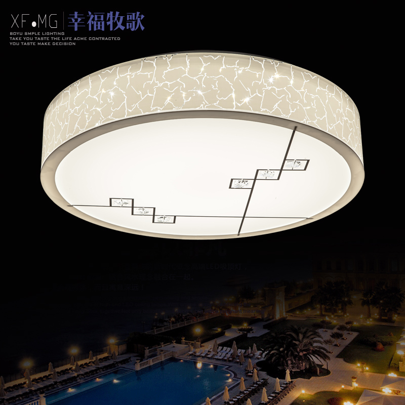 Lines round crystal acrylic ceiling living room bedroom study lamp light modern minimalist led lighting lamps