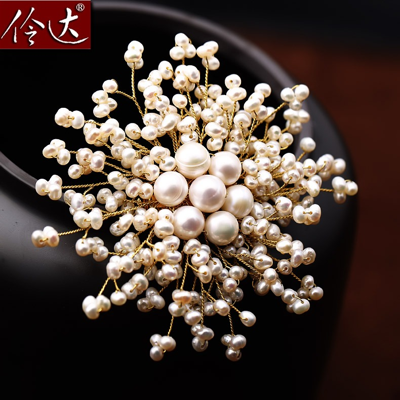 Ling of jewelry talk of advanced custom handmade freshwater pearl brooch pearl brooch brooch pin female