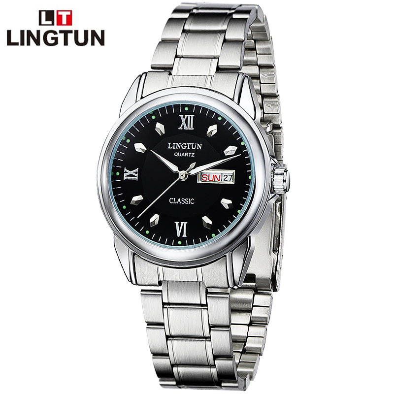 Lingtun leatherfish ghost luminous watches automatic quartz watch men quartz watch with the date week watch