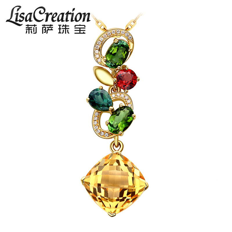 Lisa jewelry k gold citrine pendant natural tourmaline pendant female diamond necklace inlaid colored stones