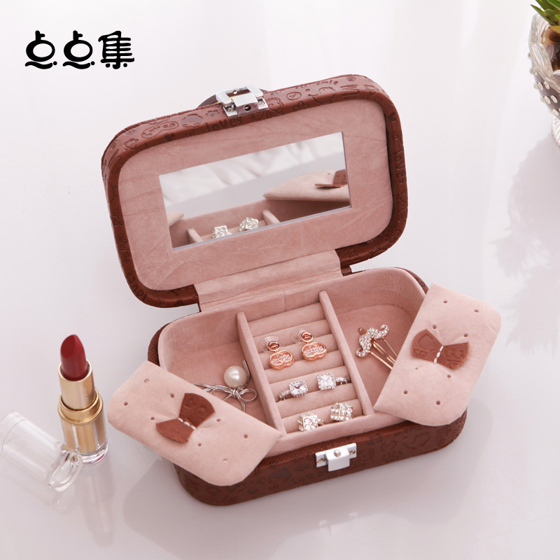 Little bit sets jewelry storage box storage box korea princess jewelry box small portable hand rings earrings jewelry box velvet box