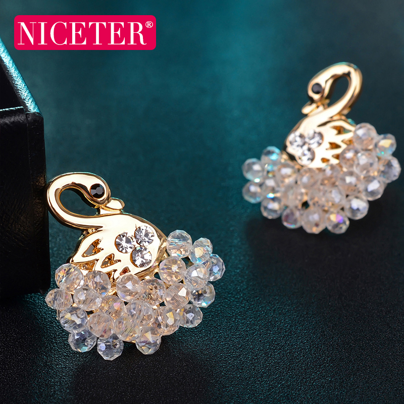 Little swan crystal earrings beaded earrings female korean version of fashion ladies cute without pierced ear clip models