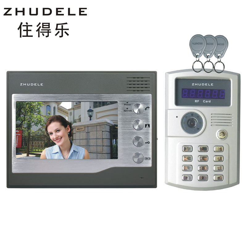 Live music doorbell 7 inch color video intercom id card + password to unlock the 27T29