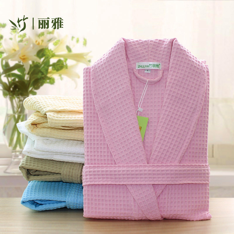Liya bamboo cotton pajamas men and women summer cotton waffle bathrobe hotel bathrobe couple spring spring thin section