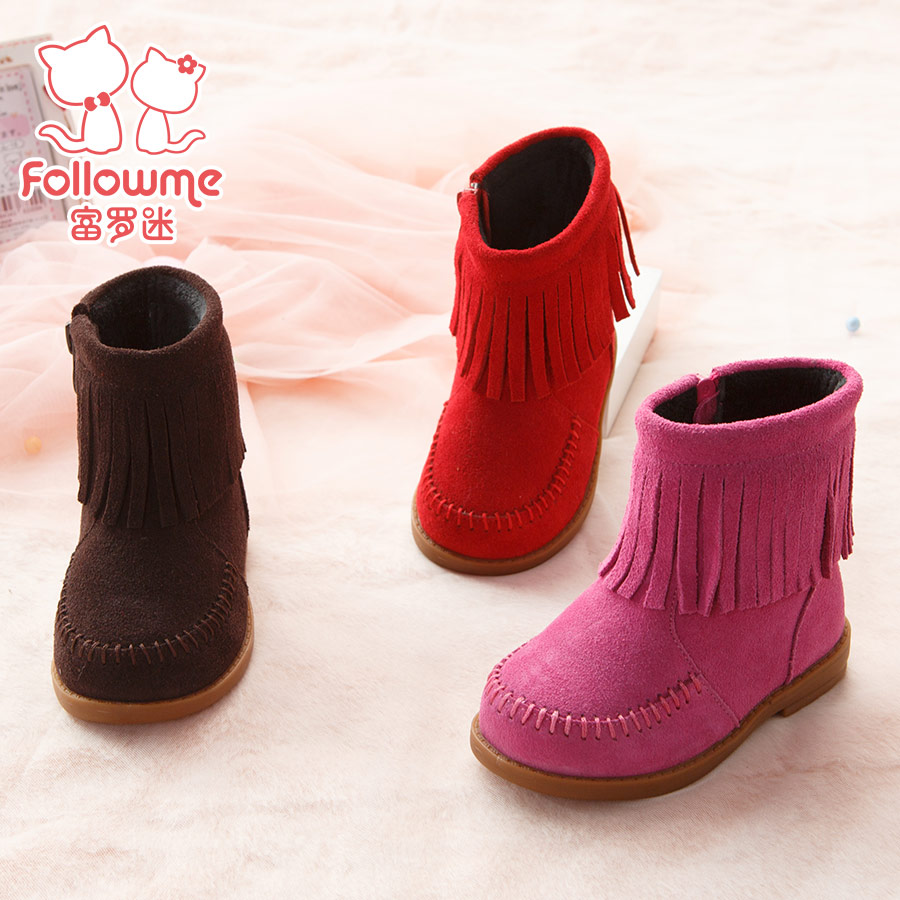 Lo fu fan of children shoes baby shoes girls boots baby boots warm korean version of the korean version of children infant toddler shoes