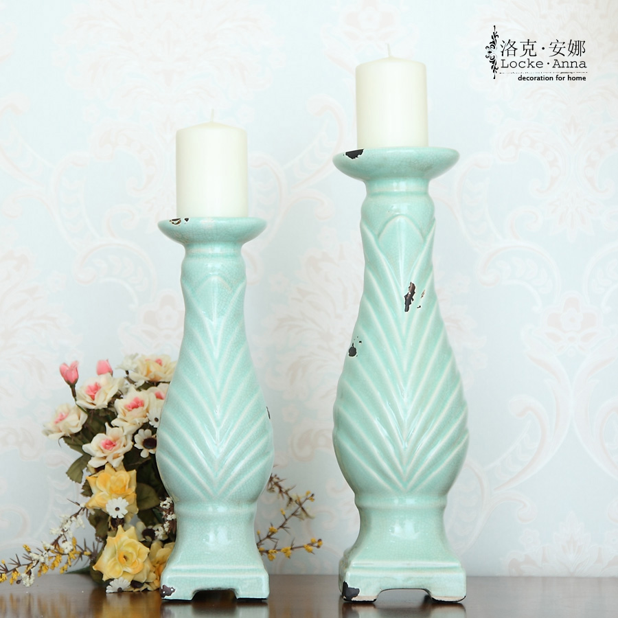 Locke anna european neoclassical french american retro ceramic candlestick candle candlestick table ornaments