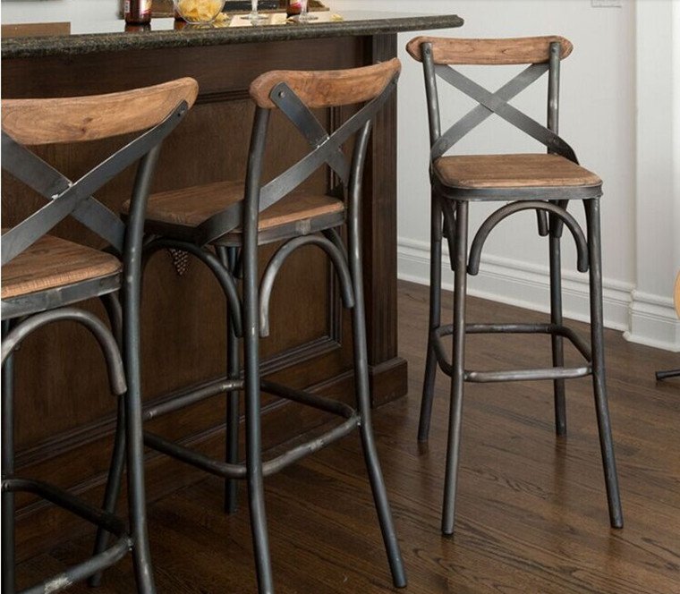 Get Quotations · Loft American Iron Wood Bar Stool High Chair Retro Bar  Cafe Tables And Chairs Restaurant Bar