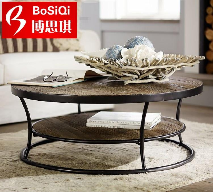Loft american style retro wood wrought iron modern minimalist living room coffee roundtable round table to do the old
