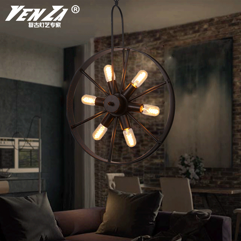 Loft creative personality retro restaurant bar american country wrought iron lamps engineering chandelier industrial wind wheel
