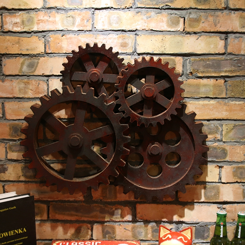 Loft style retro industrial gear iron art mural wall decorations bar restaurant personality to do the old creative wall