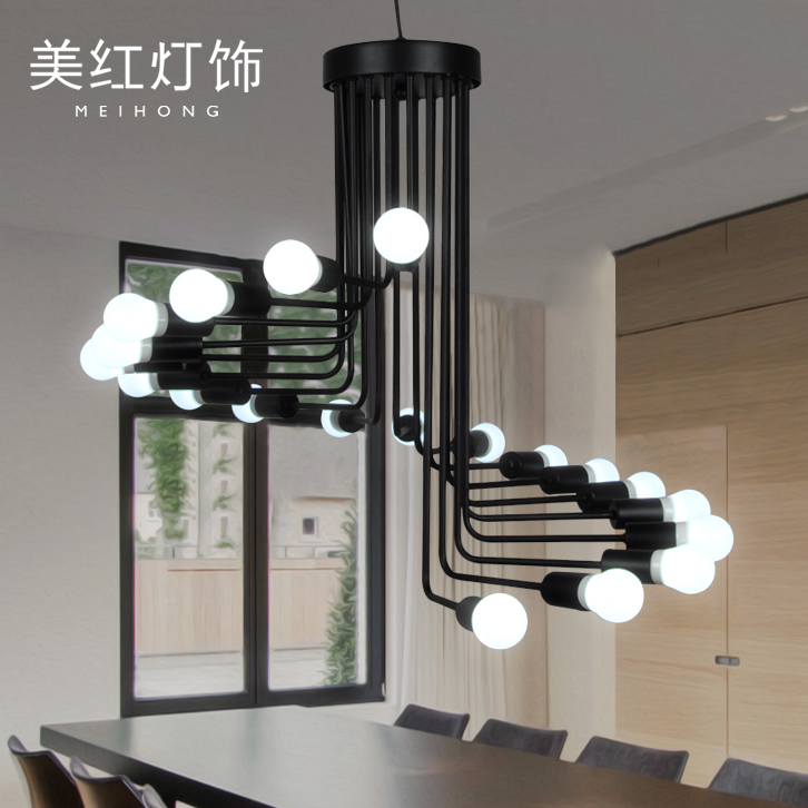 Get Quotations · Loft Vintage Chandelier Creative Personality Minimalist  Living Room Bar Cafe Long Wrought Iron Spiral Staircase Chandelier