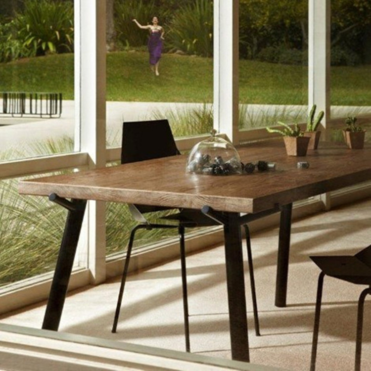 Loft vintage wrought iron dining table desk conference table long table wood desk computer table restaurant table