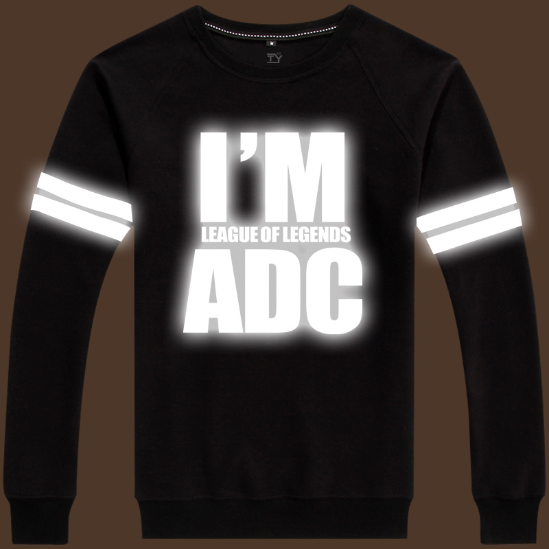 Lol league sleeved clothes wei m reflective fluorescent luminous hair scripts adc sup male shirt tide disabilities