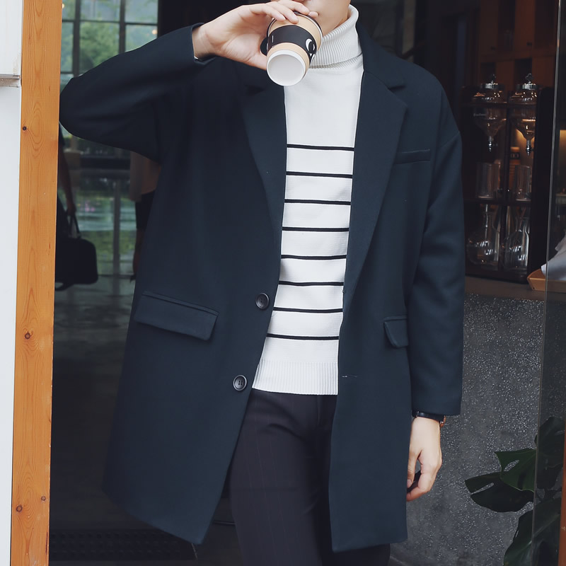 Long coat male korean version of the influx of autumn korean version of the spring and autumn and winter influx of men windbreaker and long sections woolen coat male british