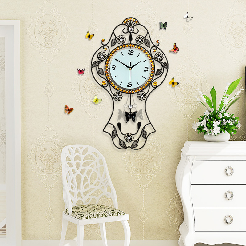 Long reach creative pastoral living room wall clock watch european chinese modern minimalist bedroom quartz clock mute when
