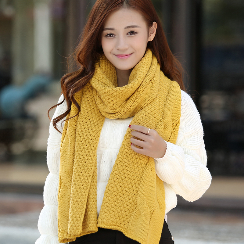 Long section of ms. korean version of the influx of female winter wool scarves solid color scarf knitted scarf thick warm winter