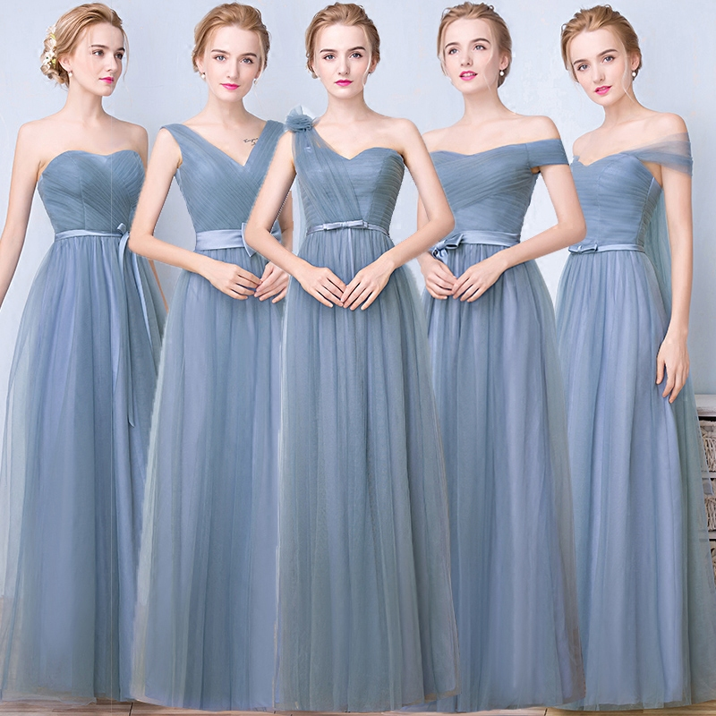 Long section of the sister group bridesmaid dress evening dress 2016 new summer word shoulder slim was thin dress banquet host