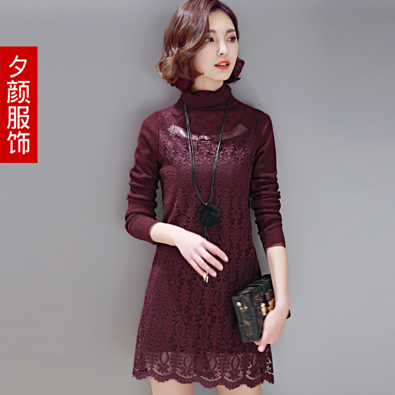 Long section plus thick velvet lace bottoming shirt 2015 winter new korean fashion piles collar lace shirt female tide