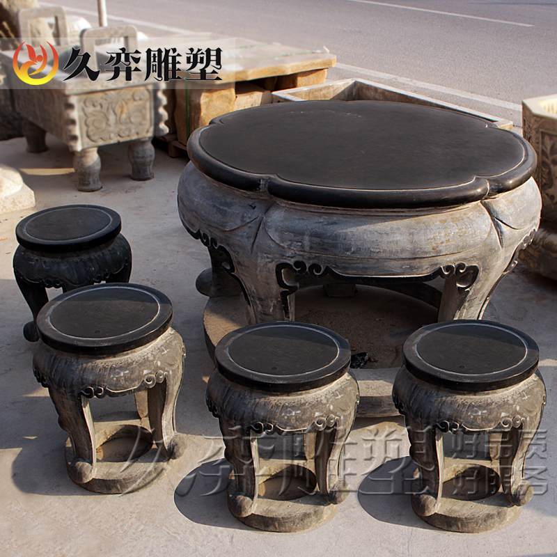 [Long yi sculpture] a set of outdoor garden decoration danzhuoshideng stone patio stone table and chairs garden ornaments