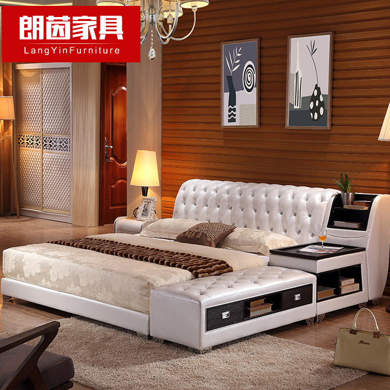 Long yin large size leather bed leather bed double bed soft bed tatami bed 1.8 m marriage bed storage bed 1.5