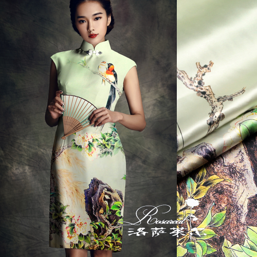 Lothar lyle â china wind digital printing heavy silk fabric stretch silk satin fabrics yunhe late song