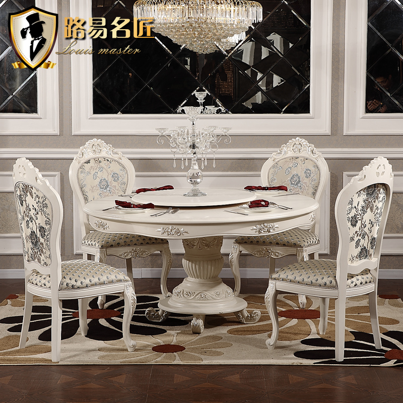 Get Quotations Louis European Round Wood Dining Table And Six Chairs Restaurant Set