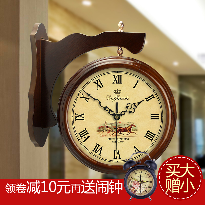 Love and up wood sided clock creative living room wall clock on both sides of the american pastoral european style modern quartz clock mute