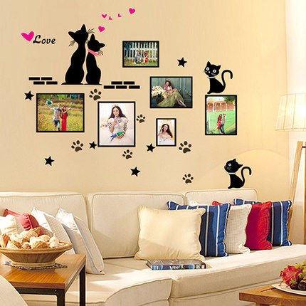 Love cat wall stickers sticker bedroom children's room living room sofa background wall painting photo frame stickers stickers