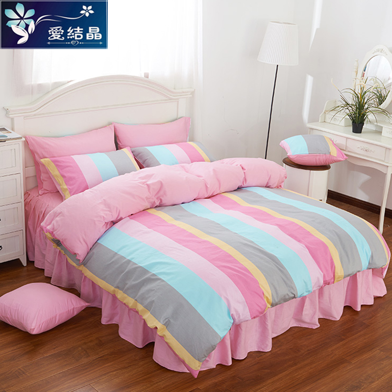 Love crystal korean version of the european princess style cotton denim cotton 1.5/m bed quilt twin bed supplies