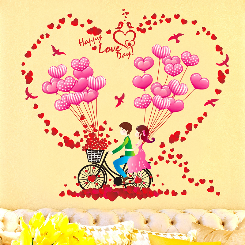 Love cycling b'loon car lovers adhesive wallpaper bedroom living room roses b'loon wave diffuse klimts entrance wall stickers